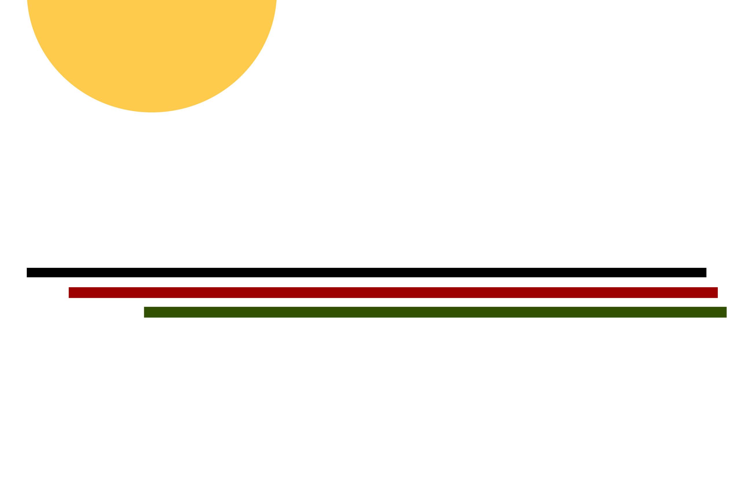 Un demi-soleil au dessus de trois lignes horizontales de couleurs noire, rouge et verte